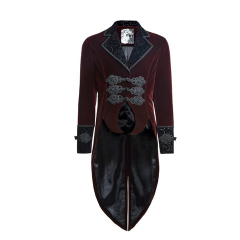 Red Velvet Gentleman's Steam Punk Tailcoat - Go Steampunk
