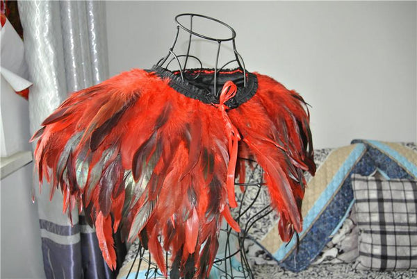 Red feather cape/capelet