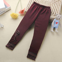 Vintage Lace and Design winter warm leggings Claret / 4T - Go Steampunk