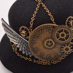 Retro Victorian Steampunk Mini Top Hat Hairclip with Gears, Wing and Chains