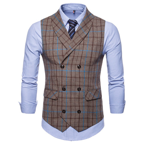 Slim Double Breasted Plaid Waistcoat Coffee blue / M - Go Steampunk