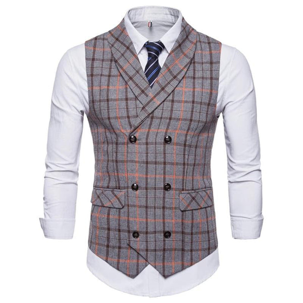 Slim Double Breasted Plaid Waistcoat