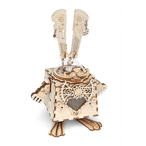 Steampunk Rabbit Wooden 3D Puzzle Music Box