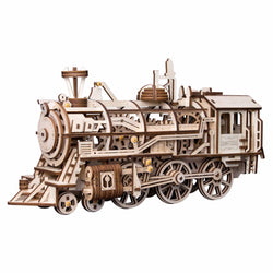 Wooden Clockwork Gear Drive Locomotive Model Kit