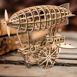 Wooden Clockwork Driven Moving Steampunk Airship Model Kit