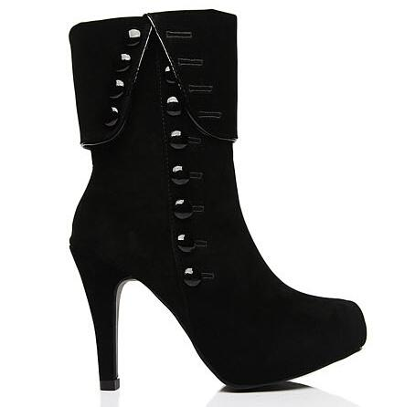 High Heel Ankle Button Boots