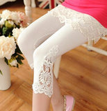Lace decorated leggings