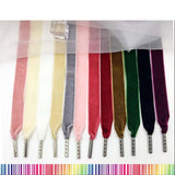 Velvet Solid Shoelaces With Metal Aglets