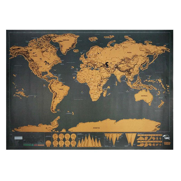 Scratch Travel Map 82.5 x 59.5cm Deluxe Traveler Scratch Off Personalized World Map - Go Steampunk