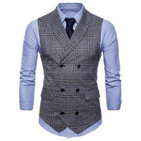 Plaid Formal Double Breasted Vest MV14GR / M - Go Steampunk