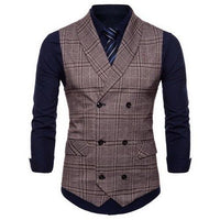 Plaid Formal Double Breasted Vest MV14CO / M - Go Steampunk