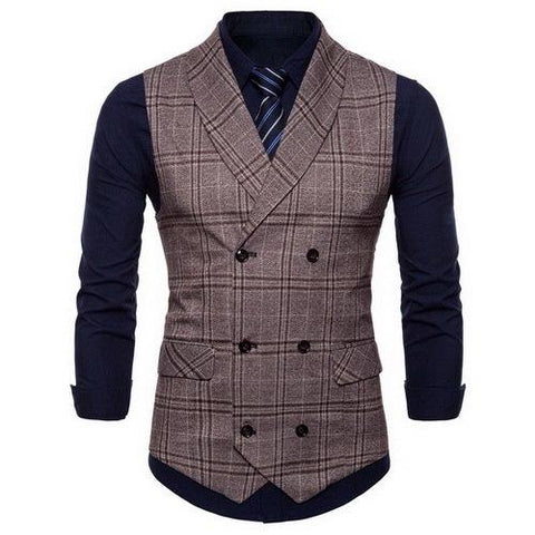Plaid Formal Double Breasted Vest