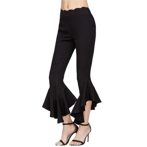 Elegant Flare Pants With Scallop Waist Black / XS - Go Steampunk