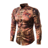 Silk Satin Vintage Print Dress Shirt