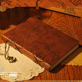 Vintage Map Leather Journal 160 Sheets