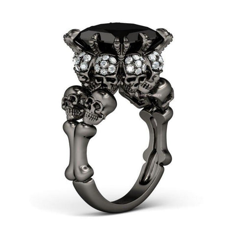 Skull Ring Gold Filled Rhodium Plated  Princess Cut 10mm Black Zircon