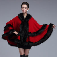 Double Decked Faux Fox Fur Cape Red / One Size - Go Steampunk