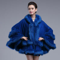 Double Decked Faux Fox Fur Cape Blue / One Size - Go Steampunk