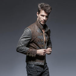 Steam Punk and Rivets Spliced Style Stand Collar Jacket - Go Steampunk