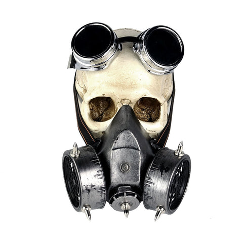 Steampunk Gas Mask and Goggles silver1 - Go Steampunk