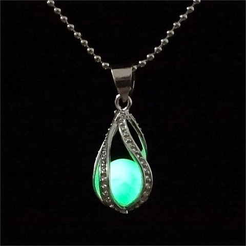 Glow In the Dark Silver Swirl Necklace with Luminous Stone