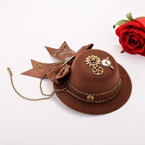 Steampunk Gear Bow Mini Top Hat