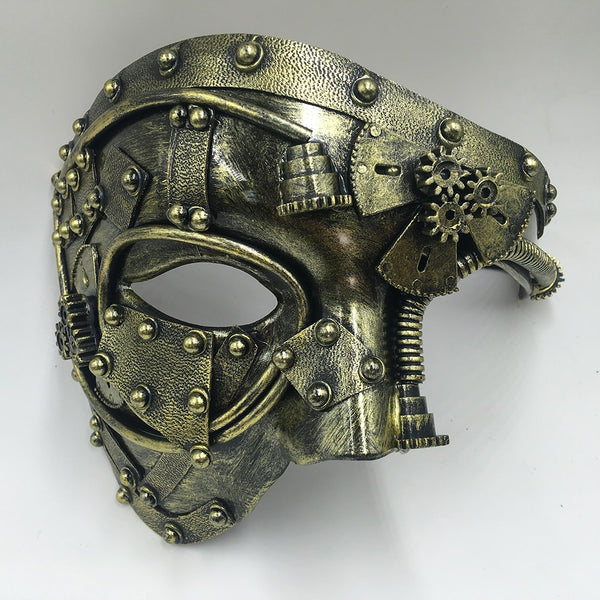 Steampunk Phantom Masquerade Half Face Mask - Go Steampunk