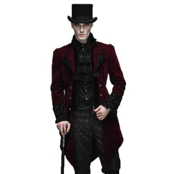 Steampunk Men Winter Coat in Black and Red
