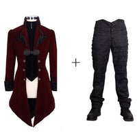 Steampunk Men Winter Coat in Black and Red Red1 / S - Go Steampunk