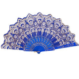 Spanish Style Silk Fan Blue - Go Steampunk