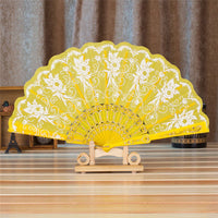 Spanish Style Silk Fan Yellow - Go Steampunk