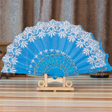 Spanish Style Silk Fan Sky Blue - Go Steampunk