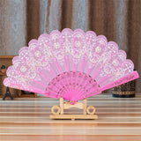 Spanish Style Silk Fan Pink - Go Steampunk
