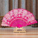Spanish Style Silk Fan Hot Pink - Go Steampunk