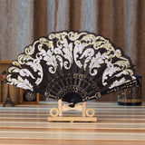 Spanish Style Silk Fan Black - Go Steampunk