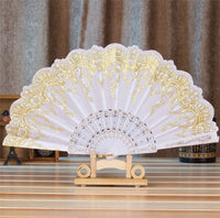 Spanish Style Silk Fan White - Go Steampunk