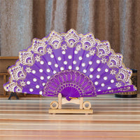 Spanish Style Silk Fan Purple - Go Steampunk