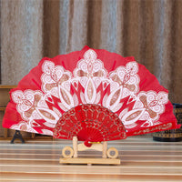 Spanish Style Silk Fan Red - Go Steampunk