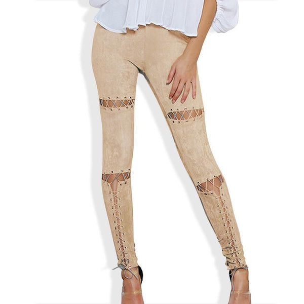 Faux Leather Women's Solid Color Sliced and Sewn Legging Beige / L - Go Steampunk