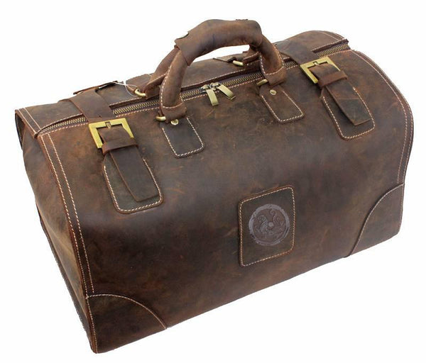 High Quality Cowhide Leather Vintage Travel Tote - Go Steampunk