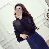 Transparent Chiffon Blouse with Long Lantern Sleeve Ruffle black / One Size - Go Steampunk
