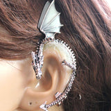 Glow in the Dark Plated Dragon Ear Cuff Antique Silver Plated - Go Steampunk