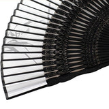 Silk Black Ladies Bamboo Folding Hand Fan - Go Steampunk