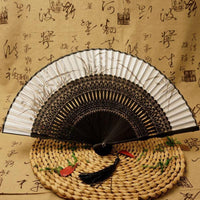 Silk Black Ladies Bamboo Folding Hand Fan Orchid - Go Steampunk