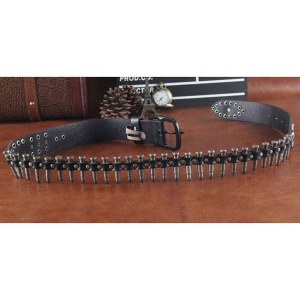 Genuine Leather Bullet Belt black / 110cm - Go Steampunk