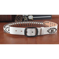 Genuine Leather Bullet Belt white / 110cm - Go Steampunk