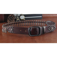Genuine Leather Bullet Belt coffee / 110cm - Go Steampunk