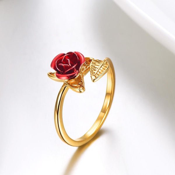 Red Rose Adjustable Ring Gold - Go Steampunk
