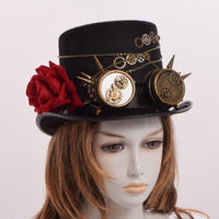 Steampunk Gears Floral Black Top Hat with Goggles Decoration Women Hat - Go Steampunk