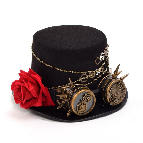 Steampunk Gears Floral Black Top Hat with Goggles Decoration Men Hat - Go Steampunk